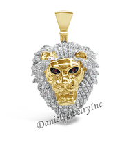 "New Lion Piece Yellow Gold 1 3/4"" White Diamond 1.25ct 10k Custom Pendant"