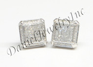 Mens Ladies Earring 10k White Gold White Diamond .35ct Pave Stud Square Custom