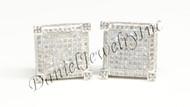 Mens Ladies Earring 10k White Gold White Diamond 1ct Pave Stud Square Custom