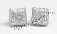 Mens Ladies Earring 10k Yellow Gold White Diamond .60ct Pave Stud Square Custom
