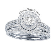 New Bridal Ladies 1.00ct Halo Diamond Wedding Ring White Gold 14k
