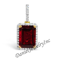 "New Ruby Pendant Yellow Gold 1 1/4"" White Diamond 1ct 14k Custom Pendant"