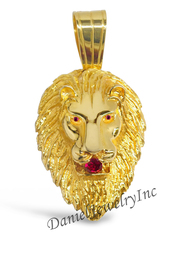 "New Lion Head Face Yellow Gold 4 1/4"" Ruby Simulant 14k Custom Pendant"