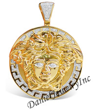 "New Versace Greek Medusa Yellow 10k Gold 3.75"" White Diamond 4.50ct Custom Medallion"