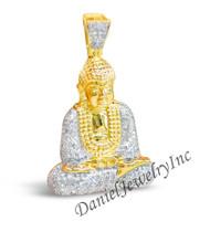 "New Buddha Pendant Yellow Gold 1 1/2"" White Diamond 1ct 10k Custom Pendant"
