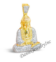 "New Buddha Pendant Yellow Gold 1 1/2"" White Diamond .98ct 14k Custom Pendant"