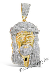 "New Jesus Piece Head Face Yellow Gold 3 1/4"" White Diamond 10.10ct 14k Custom Pendant"