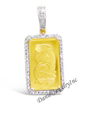 "New Pamp Suisse 24k 2.5g Bar Pendant Yellow Gold 1 1/2"" White Diamond .98ct 14k Frame Custom Pendant"