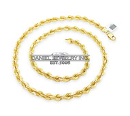 "Rope Solid Chain 26"" 24"" 22"" 14k gold 7mm 108g Yellow Necklace Twist"