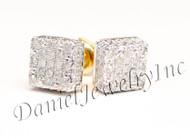 Mens Ladies Earring 14k Yellow Gold White Diamond .23ct Pave Stud Square Custom