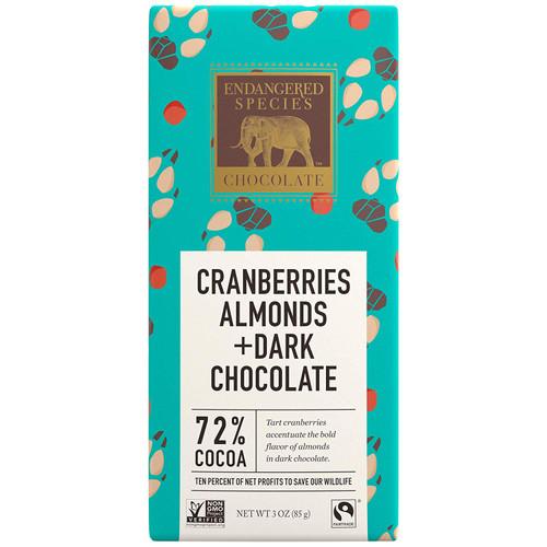 Endangered Species Fair Trade Dark Chocolate With Cranberries Almonds