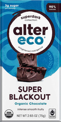 Alter Eco Super Blackout Bar 90% Pure Dark Cocoa Fair Trade Organic Non-GMO Gluten Free Dark Chocolate Bar