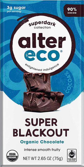 Alter Eco Super Blackout Bar 90% Pure Dark Cocoa Fair Trade Organic Non-GMO Gluten Free Dark Chocolate Bar