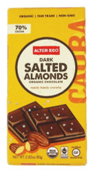 Alter Eco Deep Dark Salted Almonds 70% Cocoa Fair Trade Organic Non-GMO Gluten-Free Dark Chocolate Bar