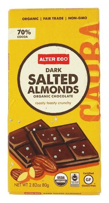 Alter Eco Deep Dark Salted Almonds 70% Cocoa Fair Trade Organic Non-GMO Gluten-Free Dark Chocolate Bar