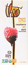 Theo Chocolates, Organic Dark Chocolate Raspberry Bar, 3 oz