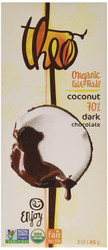 Theo Chocolate Organic Dark Chocolate with Toasted Coconut Bar 3 oz.