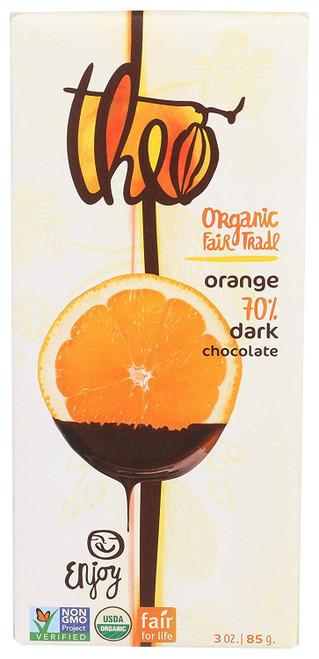 Theo Dark Chocolate with Orange Bar, 3 oz