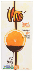 Theo Dark Chocolate with Orange Bar, 3 oz