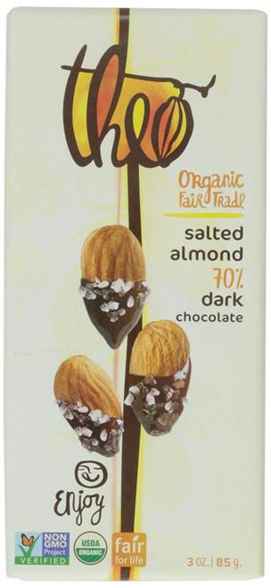 Theo Salted Almond 70% Dark Chocolate, 3 ounce