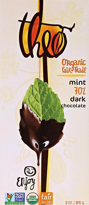 Theo Chocolate Classic Collection Organic Dark Chocolate 70% Cacao Mint 3 oz.