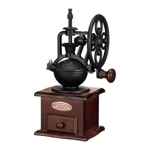 Manual Coffee Grinder,IMAVO Vintage Style Wooden Coffee Grinder Roller Grain Mill Hand Crank Coffee Grinders