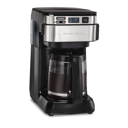 Hamilton Beach Programmable Coffee Maker, 12 Cups, Front Access Easy Fill, Pause & Serve, 3 Brewing Options, Black