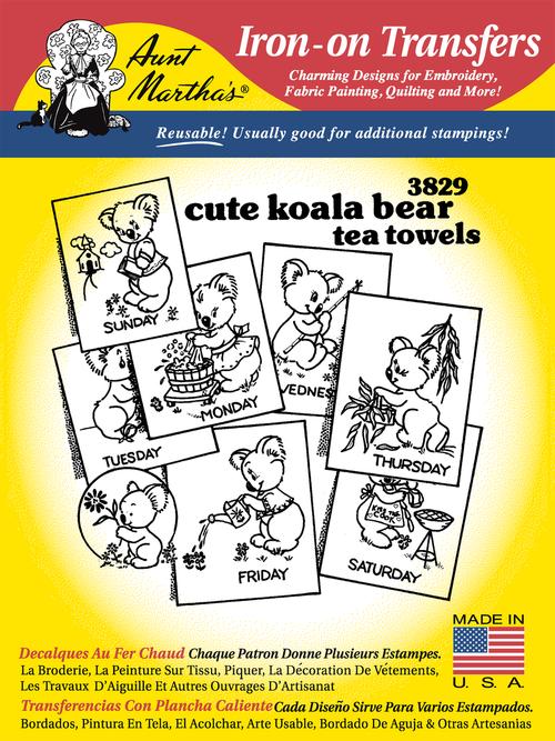 Aunt Martha's Embroidery Transfer Pattern #3829 Cute Koala Bear Tea Towels
