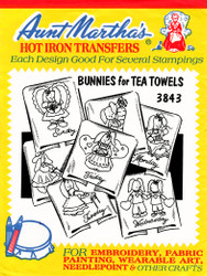 Aunt Martha's Hand Stitch Embroidery Transfer Pattern #3843 Bunnies for Tea Towels