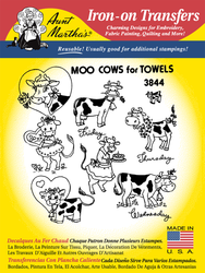 Aunt Martha's Embroidery Transfer Pattern #3844 Moo Cow for Towels