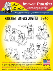Aunt Martha's Embroidery Transfer Pattern #3946 Sunbonnet Mother & Daughter