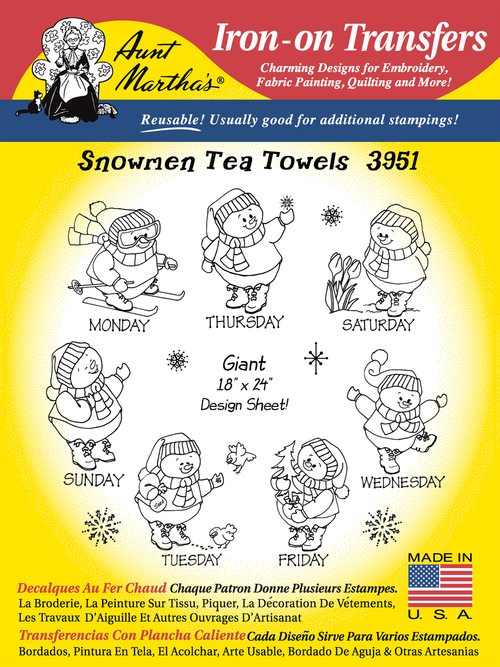Aunt Martha's Embroidery Transfer Pattern #3951 Snowmen Tea Towels