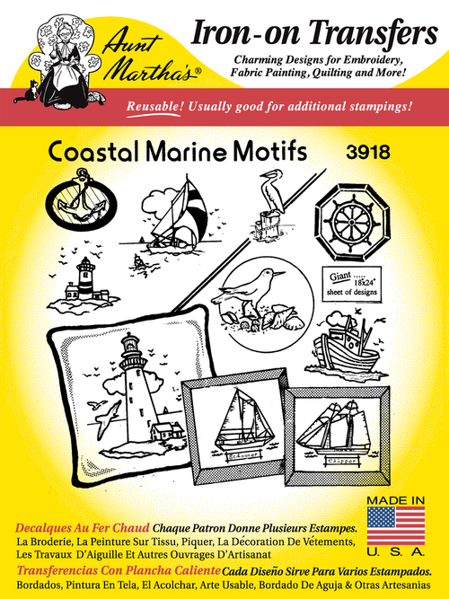 Aunt Martha's Embroidery Transfer Pattern #3918 Coastal Marine