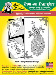 Aunt Martha's Embroidery Transfer Pattern #3297 Large Peacock Design