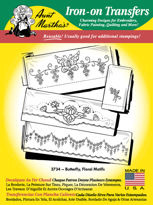 Aunt Martha's Embroidery Transfer Pattern #3734 Butterfly & Floral Motifs
