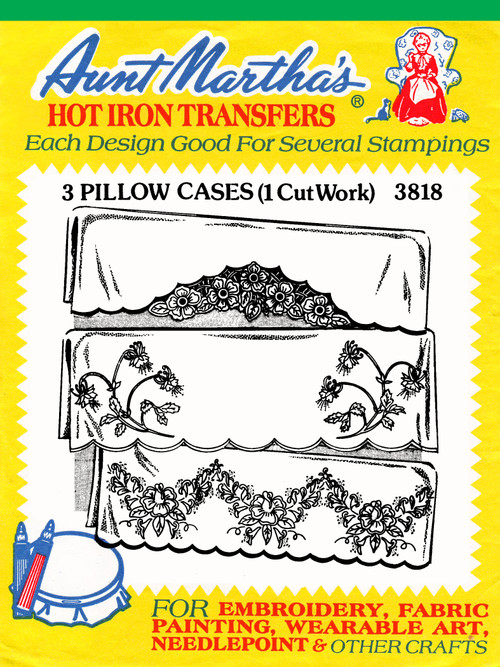 Aunt Martha's Embroidery Transfer Pattern #3818 3 Pillowcases (1 Cutwork)