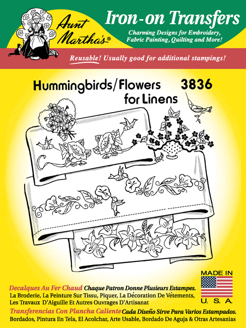 Aunt Martha's Embroidery Transfer Pattern #3836 Hummingbirds & Flowers