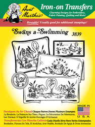 Aunt Martha's Embroidery Transfer Pattern #3839 Swans-a-Swimming