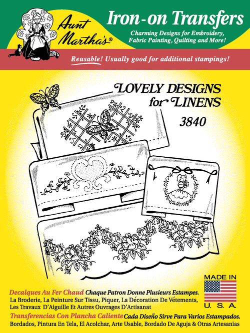 Aunt Martha's Embroidery Transfer Pattern #3840 Lovely Designs for Linens