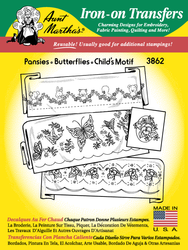 Aunt Martha's Embroidery Transfer Pattern #3862 Pansies, Butterflies, & Child's Motif