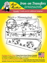 Aunt Martha's Embroidery Transfer Pattern #3880 Hearts & Hummingbirds