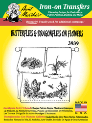 Aunt Martha's Embroidery Transfer Pattern #3939 Butterflies & Dragonflies on Flowers