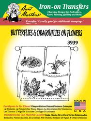 Aunt Martha's Embroidery Transfer Pattern #3939 Butterflies & Dragonflies on Flowers