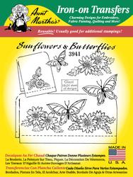 Aunt Martha's Embroidery Transfer Pattern #3941 Sunflowers & Butterflies