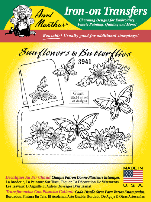 Aunt Martha's Embroidery Transfer Pattern #3941 Sunflowers & Butterflies