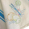 Aunt Martha's #3632 Fruit & Vegetable Motifs embroidered on Aunt Martha's Turquoise Bold Stripe Towel