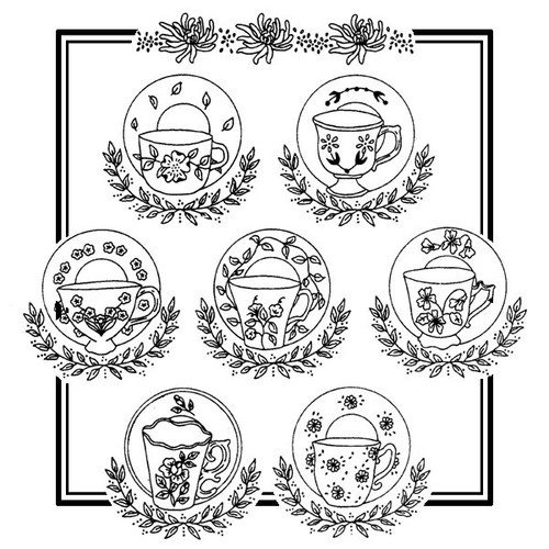 Aunt Martha's Embroidery Pattern #3897 Teacups