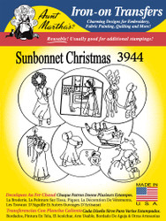Aunt Martha's Embroidery Transfer Pattern #3944 Sunbonnet Christmas