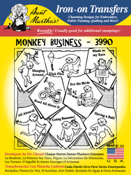 Aunt Martha's Embroidery Transfer Pattern #3990 Monkey Business
