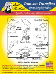Aunt Martha's Embroidery Transfer Pattern #3992 Dolphins & Friends